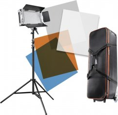 Walimex pro LED 500 Artdirector Dimmable (3x Panel Light + Accessories)