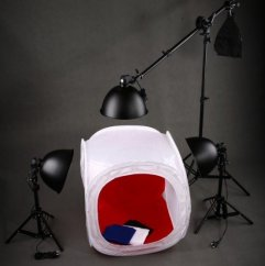 Photo tent 150x150 in a set with three spotlights and a Boom tripod WITHOUT light bulbs