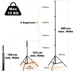Walimex pro AIR 380 Light Stand 380 cm