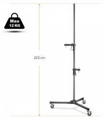 Walimex pro Folding Wheeled Base Stand 223cm with 2 Clamp Holder