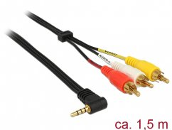 Delock Cable Stereo jack 3.5 mm 4 pin male angled > 3 x RCA male