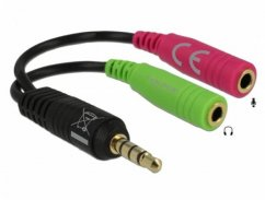 Delock Headset Adapter 1x 3.5 mm 4 pin Stereo jack male > 2x 3.5 mm 3 pin Stereo jack female (OMTP)