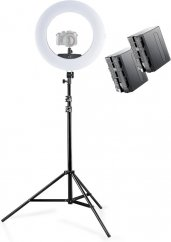 Walimex pro LED Ringleuchte Medow 960 Pro Bi Color with Light Stand + 2x Battery