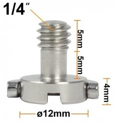 """forDSLR 1/4"""" Steel Screw with Head D-Ring, Length 14mm"""