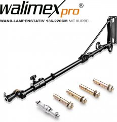 Walimex pro Wall Mount Boom Heavy Duty Deluxe 136-220cm with Crank