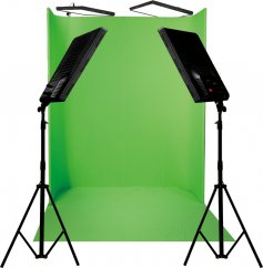 Nananlite Green Screen Set, 4x LED Compax 100, Background 1,8x2,2m with Holder